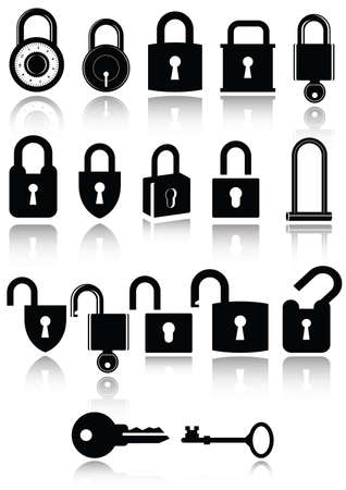 padlock: Set of lock and key icons