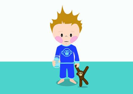 niños enfermos: Niño triste enferma con la clase de agua en la mano Vectores