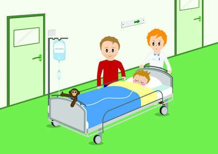 operation room: Child recovering from surgery Illustration