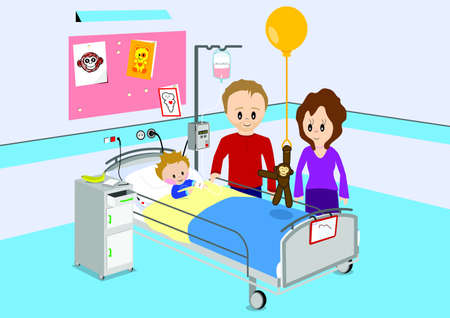 hospital room: Parent visiting their child in hospital