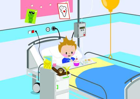 board room: Ni�o comiendo una comida en cama de hospital