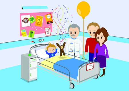 Child getting good news from doctor in hospital Vector