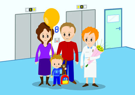 Child discharged from hospital and going home  Vector