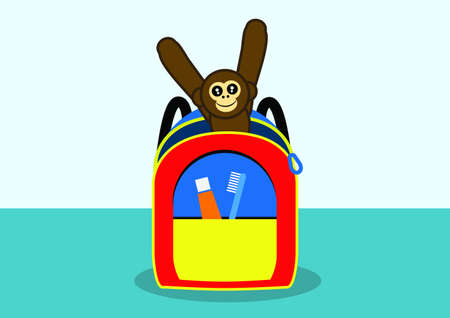 child s: Child s backpack with toy monkey