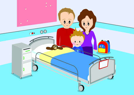 hospital bed: Child and parents standing by hospital bed