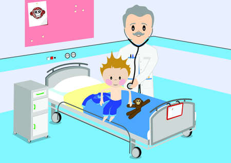 doctor toys: Child gets medical examination by doctor Illustration