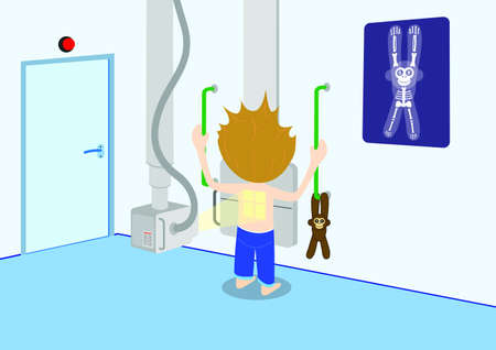 x ray: Child in X-ray department Illustration