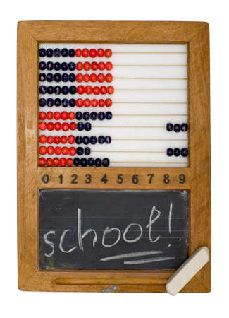 Children's school board and abacus made in the fifties last century Stock Photo - 4096416