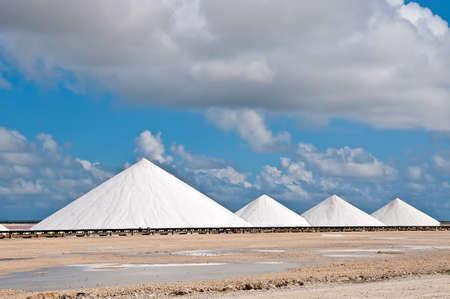 Salt mountains  Extraction of salt on the island of Bonaire, Dutch Antilles, Caribbean  免版税图像