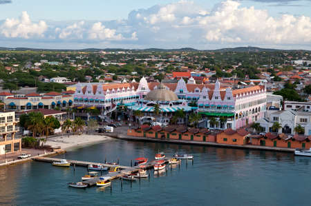 aruba: View from above of Dutch province named Oranjestad, Aruba - beautiful Caribbean Island