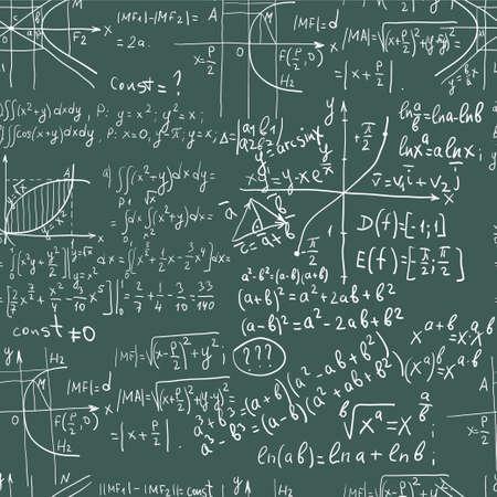 Hand schrijven wiskunde formule op naadloze schoolbord Vector Illustratie