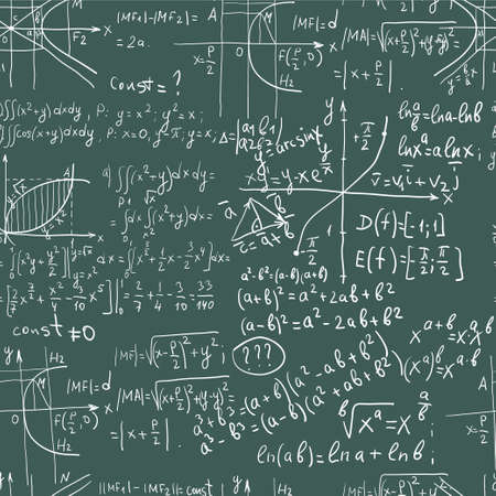 Hand writing maths formula on seamless blackboard Vector