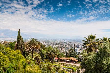 High angle view of Santiago de Chile from Cerro San Cristobal