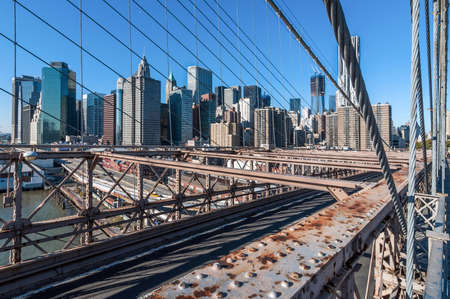 View of New York city from the Brooklyn bridge Stock Photo