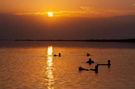 The Dead Sea is a salt lake in Israel   photo
