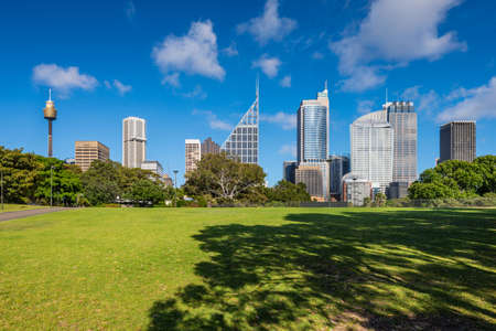 centrepoint tower: SYDNEY, AUSTRALIA - NOVEMBER, 7: Shady park - a place for recreation for people. Sydney Stock Photo