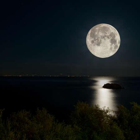 moonlight: Escena de la noche. Luna llena reflejada en el mar. Luces de la ciudad en el horizonte.