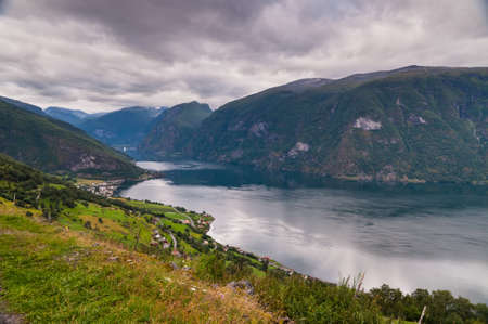 scandinavian peninsula: View at Aurland in cloudy weather, Norway Stock Photo