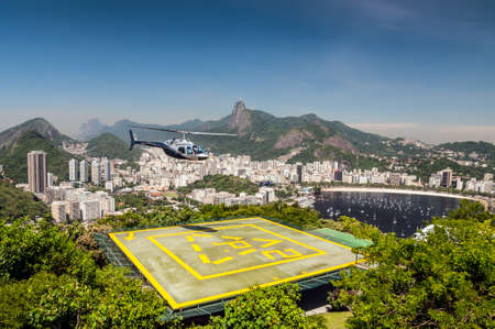 heliport: View of Heliport and Botafogo bay - Rio de Janeiro. Helipad in the foreground.