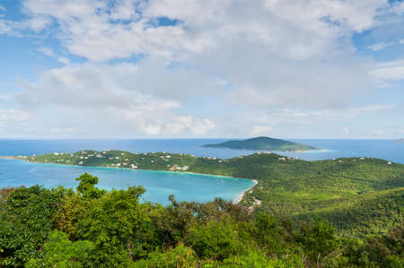 thomas: The beautiful inland Magens Bay on the US Virgin Island of Saint Thomas as seen from mountain top. Stock Photo