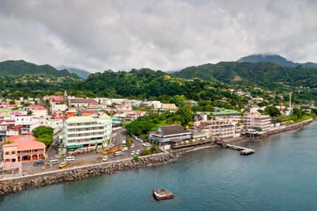 windward: Roseau, Dominica - December 4, 2011: A panorama of Roseau, capital of Dominica, taken from a ship overlooking the city. Editorial