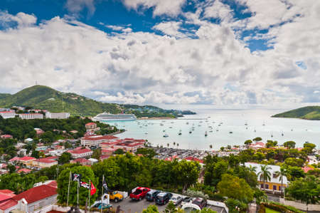 virgin islands: Charlotte Amalie, St. Thomas, US Virgin Islands - December 5, 2011: A view from above the town of Charlotte Amalie, located on St. Thomas in the US Virgin Islands. A cruise ship, luxury yachts, and sail boats are in port. Editorial