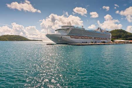 caribbean cruise: Charlotte Amalie, St. Thomas Thomas, US Virgin Islands - December 5, 2011: Emerald Princess from Princess Cruises brings passengers to the US Virgin Islands. St Thomas is one of the most popular Caribbean cruise destinations