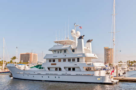 Fort Lauderdale, USA - December 8, 2011: Expedition yacht Copasetic at waterfront homes in Fort Lauderdale, FL at December 8, 2011. There are 165 miles of waterways within the city limits and 9,8 percent of the city is covered by water. Editorial
