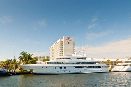 motor yacht: Fort Lauderdale, USA - December 8, 2011: Motor yacht Aurora at waterfront homes in Fort Lauderdale at December 8, 2011. Editorial