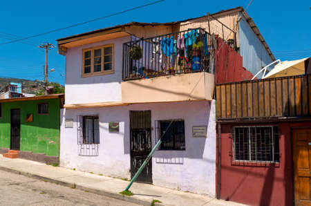 Valparaiso, Chile - December 3, 2012: Facade of a house near the square Plaza de los Poetas, part of the world heritage district of this city.