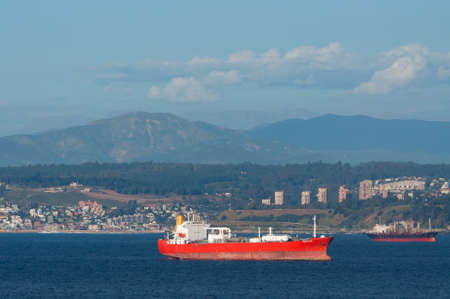 lpg: Valparaiso, Chile - December 4, 2012: Lpg Tanker Pacific Gas on the background of Valparaiso, Chile.
