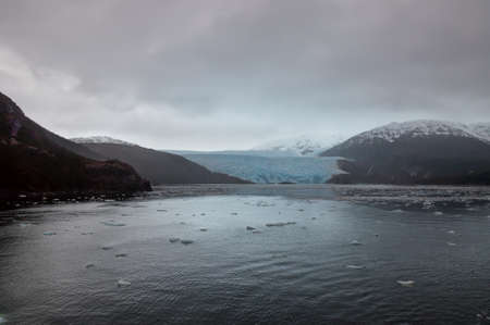 puerto natales: Chilean Fjords and Glaciers, Patagonia on a overcast rainy day.