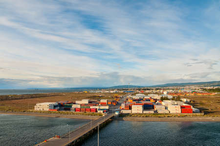 Punta Arenas, Chile - December 9, 2012: Landscape of the port of Punta Arenas with Magellan Strait in Patagonia, Chile, South America Editorial