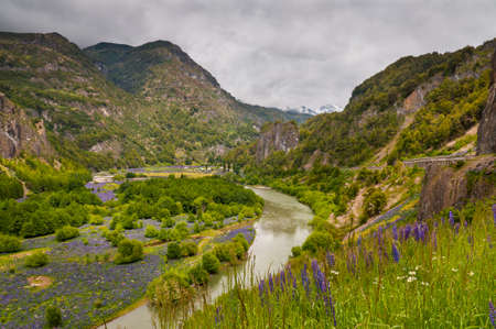 simpson: Simpson River Valley, Simpson River National Park, near Puerto Aisen and Coyhaique, Patagonia, Chile. Stock Photo