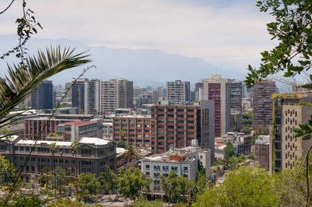 south american ethnicity: Santiago cityscape, Chile shot from Cerro Santa Lucia Stock Photo