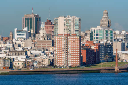 montevideo: Montevideo cityscape from port district