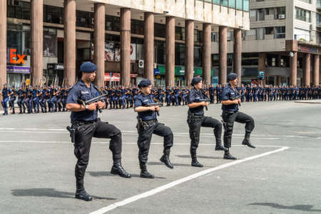 montevideo: Montevideo, Uruguay - December 15, 2012: State Police march in the parade in Montevideo, Uruguay. Editorial
