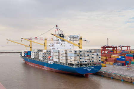 foreign trade: Buenos Aires, Argentina - December 17, 2012: Container Ship Niledutch Kudu at the Port of Buenos Aires, Argentina. The Port of Buenos Aires is the principal maritime port in Argentina. It is the leading transshipment point for the foreign trade of Argenti