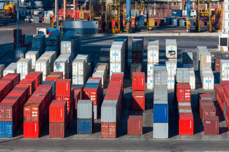 customs official: Montevideo, Uruguay - December 15, 2012: Shipping containers at the Port of Montevideo, Uruguay. Editorial