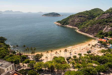 arial view: Arial view of famous Praia Vermelha Beach, Rio de Janeiro, Brazil