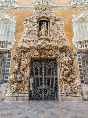 ceramica: Valencia, Spain - May 18, 2014:  Entrance to the National Ceramics Museum Gonzalez Marti, Valencia, Spain (The historic Palace of Marques de Dos Aguas).