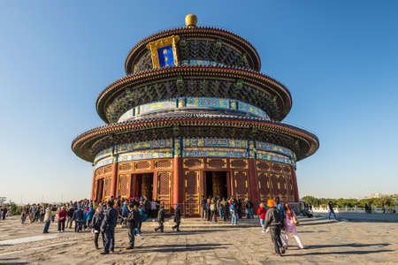 harvests: Beijing, China - October 15, 2013: The Hall of Prayer for Good Harvests at the complex of religious buildings in Beijing known as the Temple of Heaven. The original building burnt down in 1889 following a lightning strike and was rebuilt some years later.