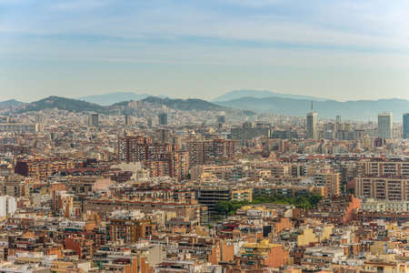 high up: Barcelona, Spain - May 18, 2014: The view of Barcelona from high up in the Renaissance Barcelona Fira Hotel.