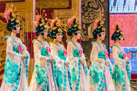 tang: Xian, China - October 16, 2013: Dancers of the Xian Dance Troupe perform the famous Tang Dynasty show at the Xian Theatre in Xian, China.