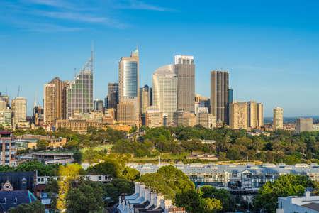 Sydney, Australia - November 7, 2014: The view of Sydney City Skyline clear sunny morning. Royal Botanic Gardens in the center Editorial
