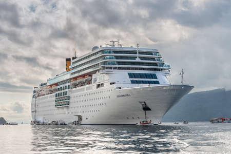 Hell-Ville, Madagascar - December 19, 2015: Costa Neoromantica Cruise ship anchored at Hell-Ville, Nosy Be Island, Madagascar. Editorial