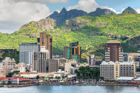 Port Louis, Mauritius - December 12, 2015: Port Louis cityscape, Mauritius. The city is the countrys economic, cultural, political centre and most populous city.