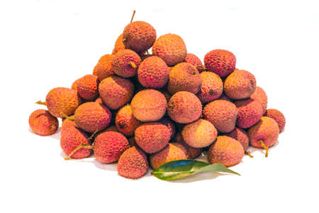 rinds: Mound of Lychees (Litchi chinensis) on a white background. Also known as Litchi, Laichi or Lichu.
