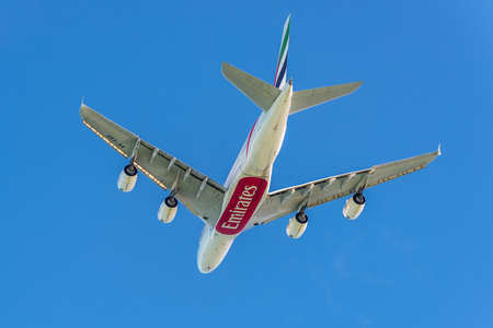 tec: Plaisance, Mauritius - December 27, 2015: The Airbus A380-841 aircraft of Emirates Airlines takeoff from the Sir Seewoosagur Ramgoolam International Airport (MRU), Plaisance, Mauritius, and flying to Dubai - International (DXB) United Arab Emirates. Airbu Editorial