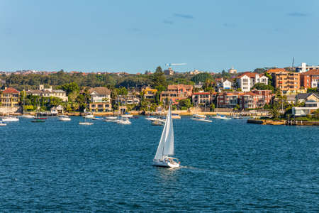 residential housing: Sydney, Australia - November 12, 2014: Sailing boats and residential housing in Rose Bay, Sydney, New South Wales, Australia. Rose Bay is a harbourside eastern suburb of Sydney 7 kilometres east of the Sydney central business district.